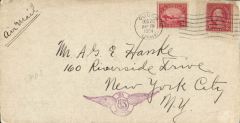 (United States Internal) U.S. Government flown Air Mail, Ouden, Utah to New York, b/s tying 'Health Christmas 1924' vignette, franked 24c C3 and 2c ordinary, nice strike violet winged 'Via US Air Mail' hs, ms 'Air Mail',