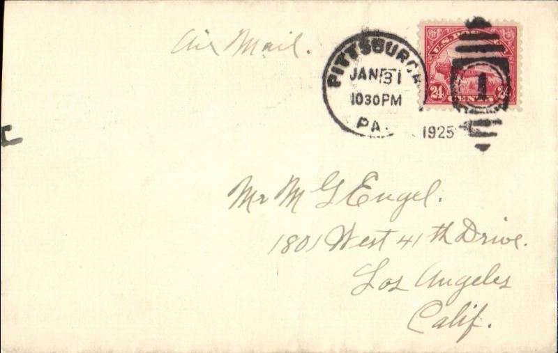 (United States Internal) U.S. Government flown Air Mail, Pittsburgh to Los Angeles, bs Feb 1, franked 24c C3, ms 'Air Mail',
