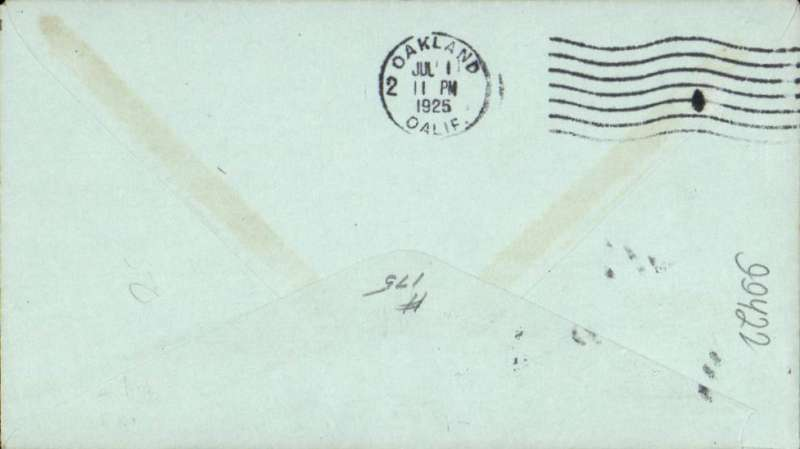 (United States Internal) U.S. Government flown Air Mail, Sacramento to Oakland, Ca, bs Jul 1, franked C4 6c, violet 'Via Air Mail' hs's.
