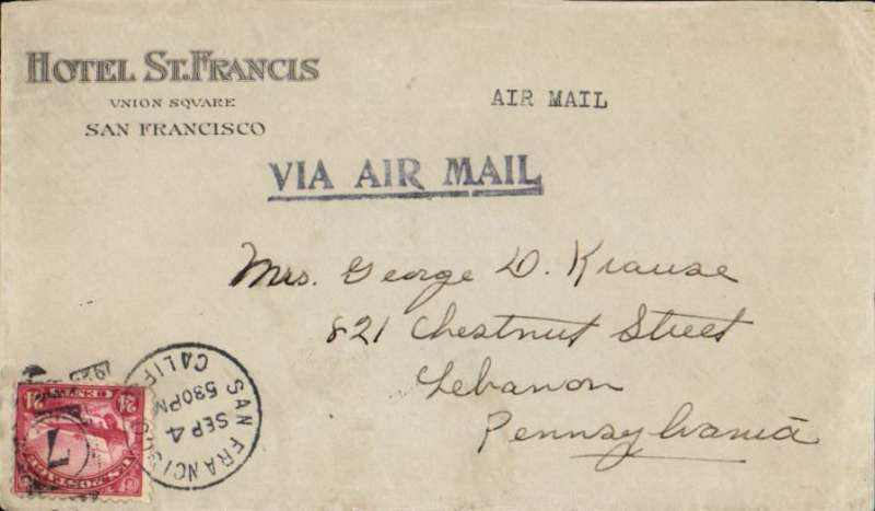 (United States Internal) U.S. Government flown Air Mail, San Francisco to Cleveland, OH, Hotel St Francis, San Francisco  corner cover franked 24c C6, bold strike 'Via Air Mail' hs.