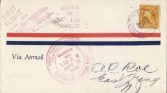 (United States Internal) F/F Contract Air Mail Seattle to Los Angeles Route 8,  Fresno, CA to San Francisc, Sep 15, airmail cover franked 10c ordinary, large red official circular cachet, also red 'First Flight 'Plane' cachet.