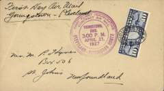 (United States Internal) F/F Contract Air Mail Cleveland-Pittsburgh Route 11,  ex Youngstown, bs New York bs Apr 22, ms 'First Way Air Mail/Younstown-Cleveland', franked C7 10c, large violet official circular cachet..