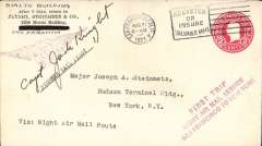 """(United States Internal) US Governmental Flight # 162i, San Francisco to New York test flight with night flying between Cheyenne and Chicago, bs New York Aug 23, fine strike violet three line """"First Trip/Night Airmail Service/San Francisco to New York""""m 2c PSE canc San Francisco/ Aug 21/1923/6am. Signed Capt. Jack Knight."""