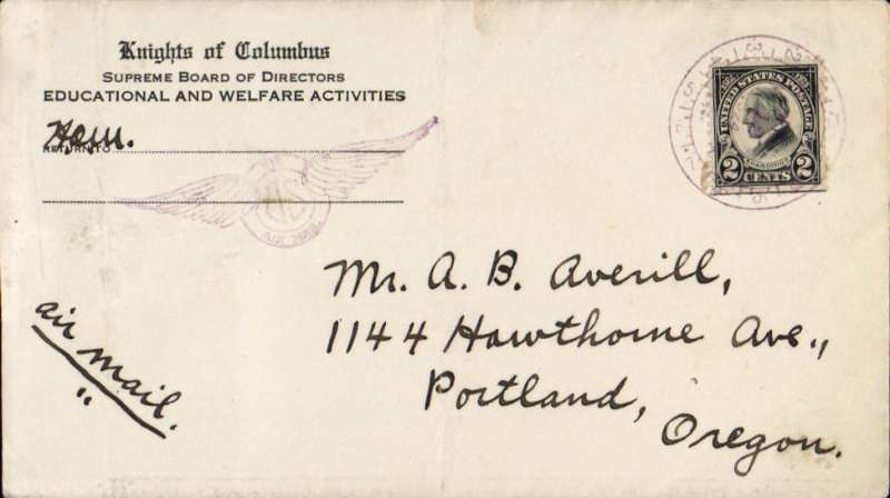 (United States Internal) Chicago Air Mail Field to Portland, Or, Knights of  Colombus corner cover franked 2c Harding canc violet Chicago 'Manager US Air Mail Field - Recd Maywood, Ill' clock cancel, fine similar strike verso.