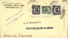(United States Internal) US Governmental Flight , Special Delivery, California-Michigan, Needles, Ca to Benton Harbour, Mich, bs Apr 4, franked C4 8C and 2x2c Harding, violet 'Special Dcelivery' hs's x2.
