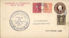 (United States Internal) F/F Contract Air Mail Cleveland-Pittsburgh Route 11, Cleveland t Pittsburgh, bs Apr 21, 1 1/2c PSC with additional 2c and 6c ordinary, large black official circular cachet..