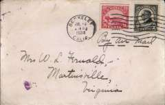 (United States Internal) US Governmental Flight , C6 24 c and 2c Harding on cover from Berkley to Virginia.