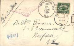 (United States Internal) US Governmental Flight , C6 24 c on Hotel Congress cover embossed on flap, tied Chicago, Jul 25, to Norfolk, Va, Jul 28 arrival on front, violet winged 'Via US Air Mail' hs.