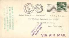(United States Internal) Dayton-Cleveland International Air Races Connecting Service with Transcontinental Airmail, C4 8c on plain cover tied by Dayton Oct 3 pmk, black circular 'McCook Air Field Oct 2-3-4 hs, green five line air race cachet, violet 'Connecting With/Atlantic & European/via New York' and 'Via Air Mail' hs's.
