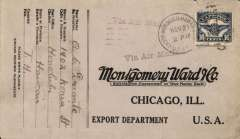 (Hawaii) Hawaii surface to San Francisco Nov 28, then Transcontinental airmail to Chicago, Montgomery Ward cover franked C5 16c tied US Naval Station Hawaii/Nov 21/1924 pmk, violet 'Via Air Mail' hs.