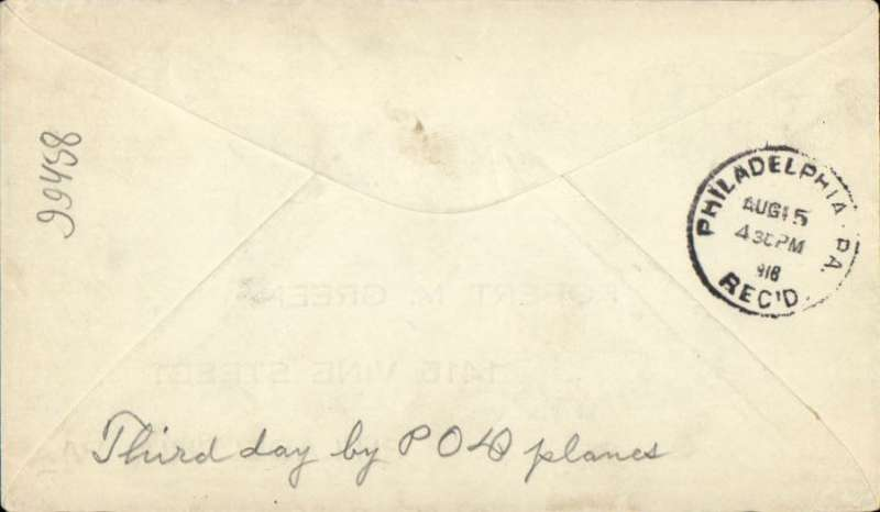 (United States Internal) Washington to Philadelphia, bs Aug 15, printed cover correctly franked red/blue C3 24c, canc violet circular 'Air Mail Service Washington.N.Y.Phila./Washington/Aug 14 1918.