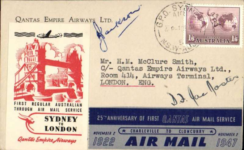 (Australia) Qantas F/F Australia-England service with Lockheed Constellation, Sydney to London, franked 1/6d, bearing special red/white/black Sydney to London label and the blue/grey 25th Anniversary label, official cover with company logo on flap, signed by Capt KG Jackson (flew Mascott-Karachi) and Capt DF McMaster (flew Karachi-London). A fine early post WWII item, see Crome pp 145/6.