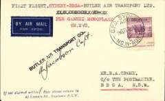 (Australia) Butler Air Transport, F/F Sydney to Bega, bs 1/11, following suspension of service by Adastra Airways.  plain cover franked 5d ,Butler Air Transport hs, typed 'First Flight Sydney - Bega -Butler Air Transport/per Gannet Monoplane/VH UVU', Signed by the pilot A.Jacobson