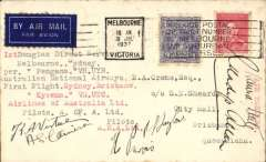 (Australia) Airlines of Australia, inaugural DC 2 flights, Melbourne 31/7 to Sydney 31/7 by 'Pengana, and Sydney to Brisbane 1/8 by 'Kyeema', signed by pilots H Purvis & PL Taylor in 'Pengana' and pilots KA Virtue & AS Cameron in 'Kyeema', and by the air hostess in each aircraft.