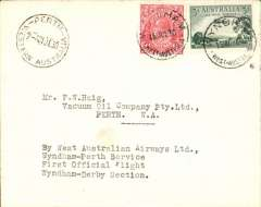 """(Australia) Western Australian AW Ltd, F/F Wydnham to Perth,21/7 arrival ds on front, cover addressed to the Vacuum Oil Company, franked 48 1/2d,typed """"By Western Australian AW Ltd/Wyndham-Perth Service/First Official Flight/Wyndham-Derby Section"""". Francis Field authentication hs verso."""