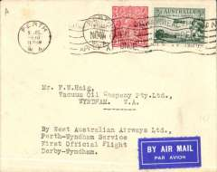 """(Australia) Western Australian AW Ltd, F/F Perth to Wydnham, bs cover addressed to the Vacuum Oil Company, franked 48 1/2d,typed """"By Western Australian AW Ltd/Perth-Wyndham Service/First Official Flight/Derby-Wyndham Section"""". Francis Field authentication hs verso."""