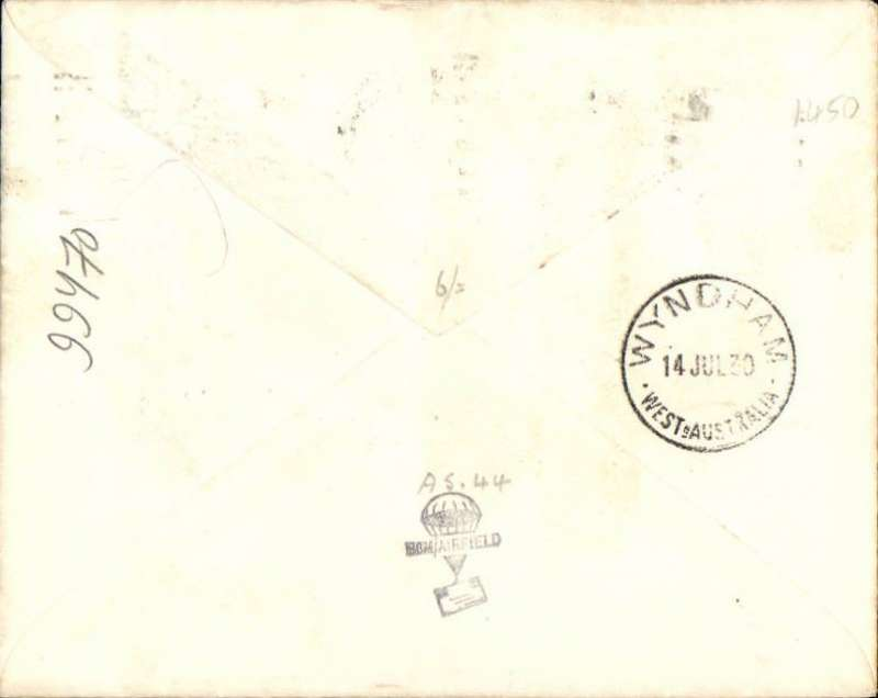 "(Australia) Western Australian AW Ltd, F/F Perth to Wydnham, bs cover addressed to the Vacuum Oil Company, franked 48 1/2d,typed ""By Western Australian AW Ltd/Perth-Wyndham Service/First Official Flight/Derby-Wyndham Section"". Francis Field authentication hs verso."