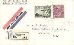 (Australia) F/F Melbourne to Sydney, b/s, cover, franked 7 1/2d, registration label tying red/white/blue airmail etiquette, violet boxed 'Air Mail' hs,  Australian National AW.