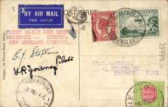 """(Australia) New England Airways, first Sunday service, Brisbane to Sydney, 1/9 arrival ds on front, colour PPC Hart's Stairs, Sydney, under franked 4d, 1d postage due canc arrival address cds (Newton, NSW), black '1d' in oval tax paid hs, typed """"First Daily Air Service/Brisbane...Sydney"""".  Signed by both pilots EJ Stephens and TR Young. Scarce."""