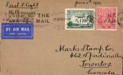 (Australia) F/F ANA Sunday service, Melbourne to Sydney, b/s, airmail etiquette cover franked 7 1/2d.