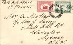 (Australia) F/F ANA Sunday service, Melbourne to Sydney, bs 1/6, plain cover franked 4 1/2d, black straight  line'First Flight'.
