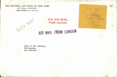 """(United States) Acceptance of United States airmail for New Zealand, New York to Wellington, carried by sea on the Queen Mary to Southampton, then (projected route) Imperial Airways HP42W to Paris 2/9, rail to Brindisi, Kent flying boat to Alexandria, HP42E to Karachi, AW15 to Singapore, Qantas DH86A to Darwin & Charleville, Butler Air Services to Cootamundra, rail to Sydney, SS Karetu to Bluff, Union Airways DH86 North from Dunedin, arrived Wellington 23/9. Interbank cover printed  'Via Airmail/Par Avion'  franked New York $1.84 meter postage Aug 25, 1936, blue straight line """"Queen Mary"""" hs, violet straight line """"Airmail From London"""" hs, three 'National City Bank of New York' seals verso. Great exhibit item."""