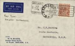 (Australia) F/F Adelaide to Narrandera, and return, 28/4, Eustis corner cover, franked 5d, prepared by Eustis to commemorate the F/F on 28 Mar 1928.