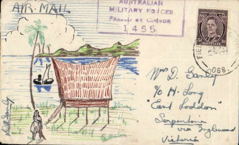 """(Australia) US Army AirTransport Command & A.T.C., wartime letter from Australian Military Forces, Field Post Office 068, Madang, New Guinea to Victoria, cover franked 3d Australia stamp with a picture, hand drawn by the sender, framed """"Australian Military Forces/Passed by Censor/1455"""" hs."""