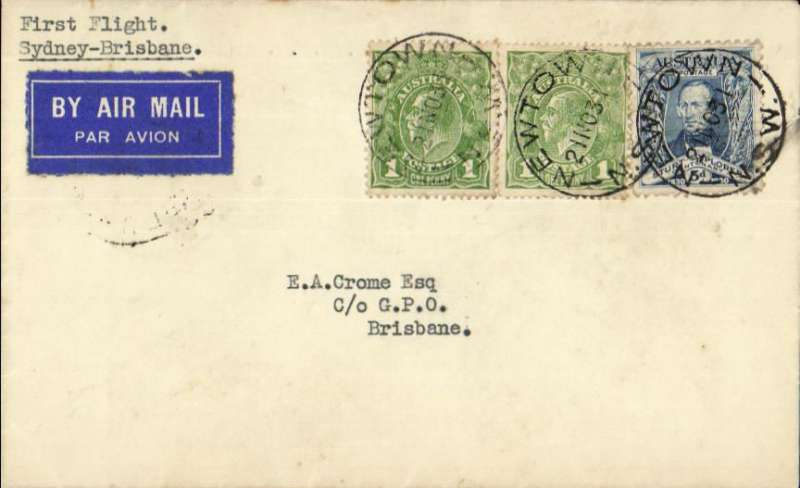 "(Australia) New England Airways Ltd, F/F Sydney to Brisbane, bs 24/11, plain cover franked 5d, typed ""First Flight/Sydney-Brisbane"""