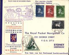 (Netherlands) F/F Amsterdam to Sydney, bs 5/7, and return postmarked 22/7, KLM souvenir cover franked/cancelled Netherlands and Australia stamps, official cachet, Eustis #815a.