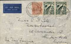 (Australia) WR Carpenter Airlines first official flight frm Sydney to Raboul, bs 1/6, and return 3/6 to Sydney, bs 5/6, imprint airmail etiquette cover franked 5d Australia and 5d x2 New Guinea stamps.