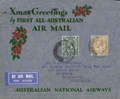 "(GB External) Kingsford Smith's postponed ""All Australian"" return flight carrying Christmas 1931 mails, London to Melbourne, bs 22/1/1932,  ANA green/red/grey blue Xmas Greetings cover, rated 1/4d canc London 21/12 cds, Australian National Airways."