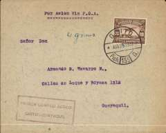 "(Ecuador) Pan American Grace Airways, Harold Harris promotional return flight from Quito to Guayaquil, bs 28/8, plain cover magenta boxed flight cachet, typed endorsement ""Por Avion Via PGA"". This flight was successful and led to the award to Panagra of the Ecuadorian internal and external airmail concession."