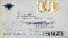 (Bolivia) Bolivia to California, no arrival ds, blue/grey LAB/Condor envelope with company logo in corner franked 4B, large violet 'Rebuts' (Return to Sender' hs, black Nuevo Laredo/28 Jul 47 transit cds applied on return journey. In 1942 Brazil joined the Allied war effort and  blockaded the delivery of airline spare for Varig and Condor and, in 1943, the name of Condor was abandoned. Shortly after its routes were taken over by Panagra - hence the black PANAGRA hs over 'Condor' on this cover. Interesting.