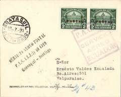 """(Ecuador) Ecuador to Chile, Pan American Grace Airways F/F Guayaquil to Valparaiso, b/s, plain cover franked 4c canc violet boxed """"P.A.G.A.I. Servico Aereo Ecuador"""" cachet, black 3 line """"Guayaquil-Valparaiso"""" cachet front and verso. Ex Heinmuller Air Mail Collection."""