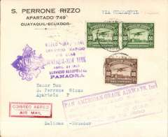 "(Ecuador) Scarce Pan American Grace Airways F/F Salinas to Guayaquil, bs 29/4, Rizzo corner cover franked 60c canc weak Salinas cds, two different violet Panagra 'Guayaquil-New York 3 1/2 Day Rapid Service' flight cachets and red framed 'Air Mail' hs on the front, and large red ""Primer Despacho/Salinas-Guayaquil"" and large black oval ""Primer Correo Aereo/Guayaquil-Salinas/6 Mayo 1930"" verso. This cover was flown Salinas-Guayaquil on the day the accelerated Panagra service was due to collect mail at Guayaquil for transit North. It appears the PO took the opportunity to also apply cachets for the Guayaquil-Salinas flight even though its intended date was not until May 6. A small neat hand drawn map of the route accompanies this item."
