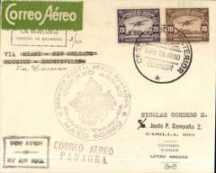 "(Ecuador) Pan American Grace Airways F/F Ecuador to Venezuela, Guyaquil to Caracas, bs 28/5,  plain cover franked 30c canc Guyaquil cds, large violet circular Ecuador-Venezuela flight cachet, black framed ""Par Avion"" hs, green/white Scadta etiquette Flown from Ecuador to Cristobal by Panagra to link with Pan Am Venezuela service.."