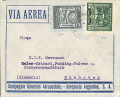 "(Paraguay) Asuncion to Hannover, Germany, no arrival ds, blue/grey CGA/Aeroposta Argentina cover franked 10.20, carried on the Compagnie Aeroposta  Argentina Asuncion-Toulouse service. Flown on the CGA overseas service from Paraguay to Argentina then ""accelerated"" by the ""plane-ship-plane route via the South Atlantic to Toulouse, then OAT to destination."
