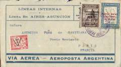 "(Paraguay) Asuncion to Paris, bs 30/9, blue/grey Aeroposta Argentina airmail cover underfranked franked 9P, 30c French postage due tied by black ""t"" in triangle tax mark,  violet boxed ""Correo Aereo/ Rep del Paraguay"" cachet verso (used before airmail envelopes were introduced in 1930). Flown on the new CGA overseas service from Paraguay to Argentina then ""accelerated"" by the ""plane-ship-plane route via the South Atlantic to Toulouse, then OAT to destination. A little rough opening along top edge."