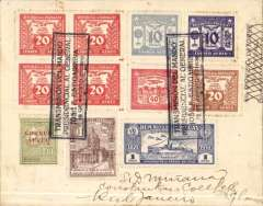 "(Paraguay) Asuncion to Rio de Janero, bs 21/8, registerd (label) flown cover franked 12P 60c ordinary and 1P 10c airs, tied by three black framed cachet announcing Estigarribia's appointment as President, postmarked ""Correo Aereo/17/8/39/Asuncion-Paraguay"" cds. Estigarribia was elected President for a four-year term in 1939, assuming office on August 15."