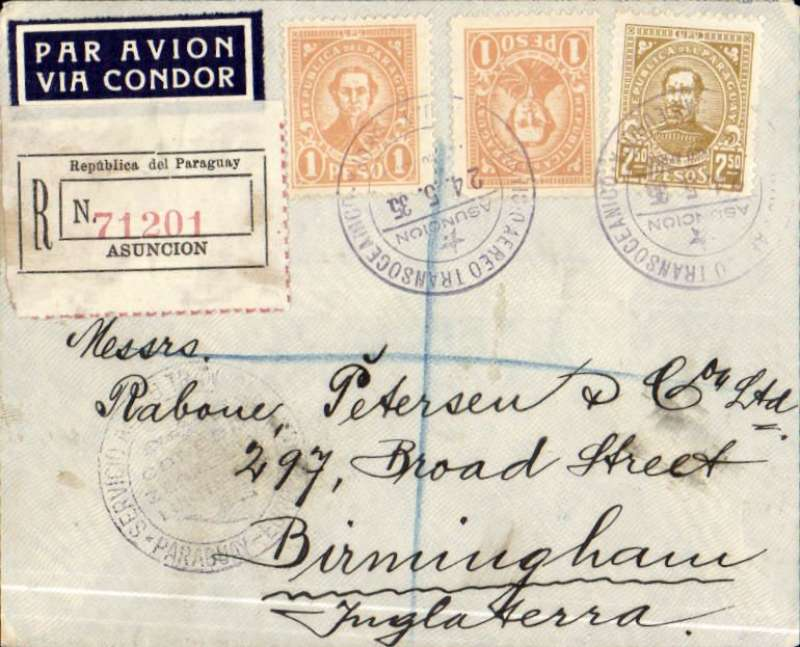 """(Airship) Paraguay to England, Asuncion to Birmingham, no arrival ds, carried on the Graf Zeppelin 4th South America Flight, registered (label) cover franked 27P, canc 'Servicio Aereo Transocianica/Asuncio/24.5.35/Paraguay' cds, black circular South America Zeppelin airpost confirmation mark, dark blue/white """"Par Avion/Via Condor"""" airmail etiquette.."""