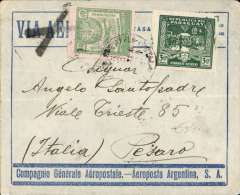 (Paraguay) Asuncion to Pesaro, Italy, no arrival ds, blue/grey CGA Aeroposta Argentina SA envelope franked 9P40, 'Via Aerea' cancelled by Marseilles black cross Jusqu'a, confirming carriage by Air France.