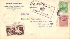 "(Paraguay) Paraguay to Argentina, bs Buenos Aires 23/7 and '1792' in box postman's mark, Hermanos corner cover franked 1P50 postage and 5P65 airmail rate using correct usage of the 5P65 'carrier pigeon' airmail stamp, ms Via Aereo, blue boxed ""Correo Aereo/ Rep del Paraguay"" cachet used before airmail envelopes were introduced in 1930."