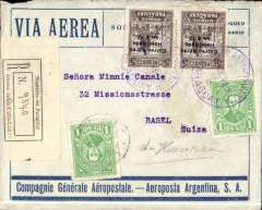 "(Paraguay) Asuncion to Basel, Switzerland, bs 18/11, registered (label) blue/grey Aeroposta Argentina airmail cover rated 34P for 10g weight + 2P registration, postage/air fee paid with an unseparated pair of 17P on 5P postage stamps, violet Asuncion 'clock' depart postmark verso. It is unusual to find pairs like this.  Also violet boxed ""Correo Aereo/ Rep del Paraguay"" cachet used before airmail envelopes were introduced in 1930. Flown on the new CGA overseas service from Paraguay to Argentina then ""accelerated"" by the ""plane-ship-plane route via the South Atlantic to Toulouse, then OAT to destination."