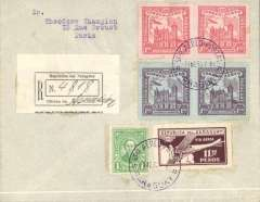 "(Paraguay) Asuncion to Paris, no arrival ds, registered (label) blue/grey Aeroposta Argentina plain cover rated 18P90 airmail and 2P50 registration. The cover weighed between 4 and 5 grams effecting a combined postage/airmail rate of 17P. Overpaid by 1P909 to include FDI of two pairs of the Cathedral of Asuncion' issue. Flown on the new CGA overseas service from Paraguay to Argentina then ""accelerated"" by the ""plane-ship-plane route via the South Atlantic to Toulouse, then OAT to destination."
