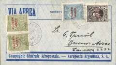 "(Paraguay) Asuncion to Buenos Aires, bs 7/3, blue/grey CGA Aeroposta Argentina SA envelope franked 3P40, verso violet boxed ""Correo Aereo/ Rep del Paraguay"" cachet used before airmail envelopes were introduced later in 1930.."