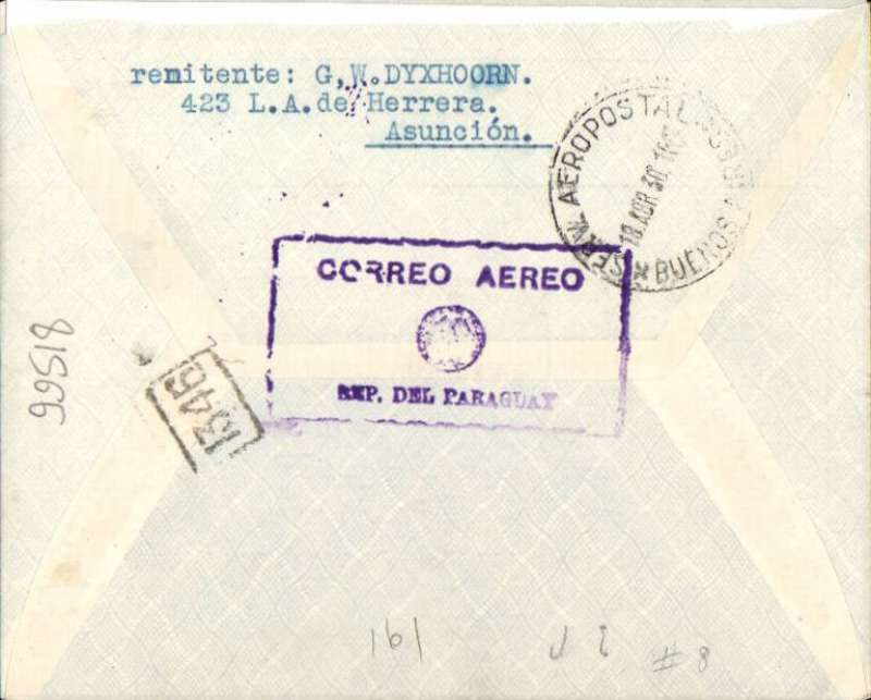 """(Paraguay) Asuncion to Buenos Aires, bs 30/4, and small framed '1346' BA postman's mark, blue/grey CGA Aeroposta Argentina SA envelope franked 2P85 air stamp to cover postage and airmail rate (this is late use of the 2P85 air stamp issued on 2/3/29), violet boxed """"Correo Aereo/ Rep del Paraguay"""" cachet verso, used before airmail envelopes were introduced later in 1930.."""