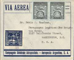 "(Paraguay) Asuncion to Washington, DC, no arrival ds, blue/grey CGA - Aeroposta Argentina SA envelope franked 2P85 for Asuncion-Buenos Aires leg, and 13P60 for BA to US leg. The absence of transit marks suggests NYRBA to Miami and onward by US internal airmail system. Violet boxed ""Correo Aereo/ Rep del Paraguay"" cachet verso, used before airmail envelopes were introduced later in 1930. In particularly fine condition."