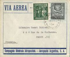 (Paraguay) Asuncion to Paris, no arrival ds, triple rated blue/grey CGA - Aeroposta Argentina SA envelope franked 10P20 (3x 3P40) .