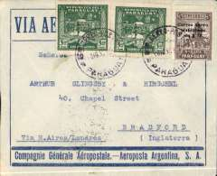 (Paraguay) Asuncion to England, via Paris 15/12, 7x rated blue/grey CGA - Aeroposta Argentina SA envelope franked 23P80 (3P40 x7). 3P40 was the combned postage/airmail rate for Europe.